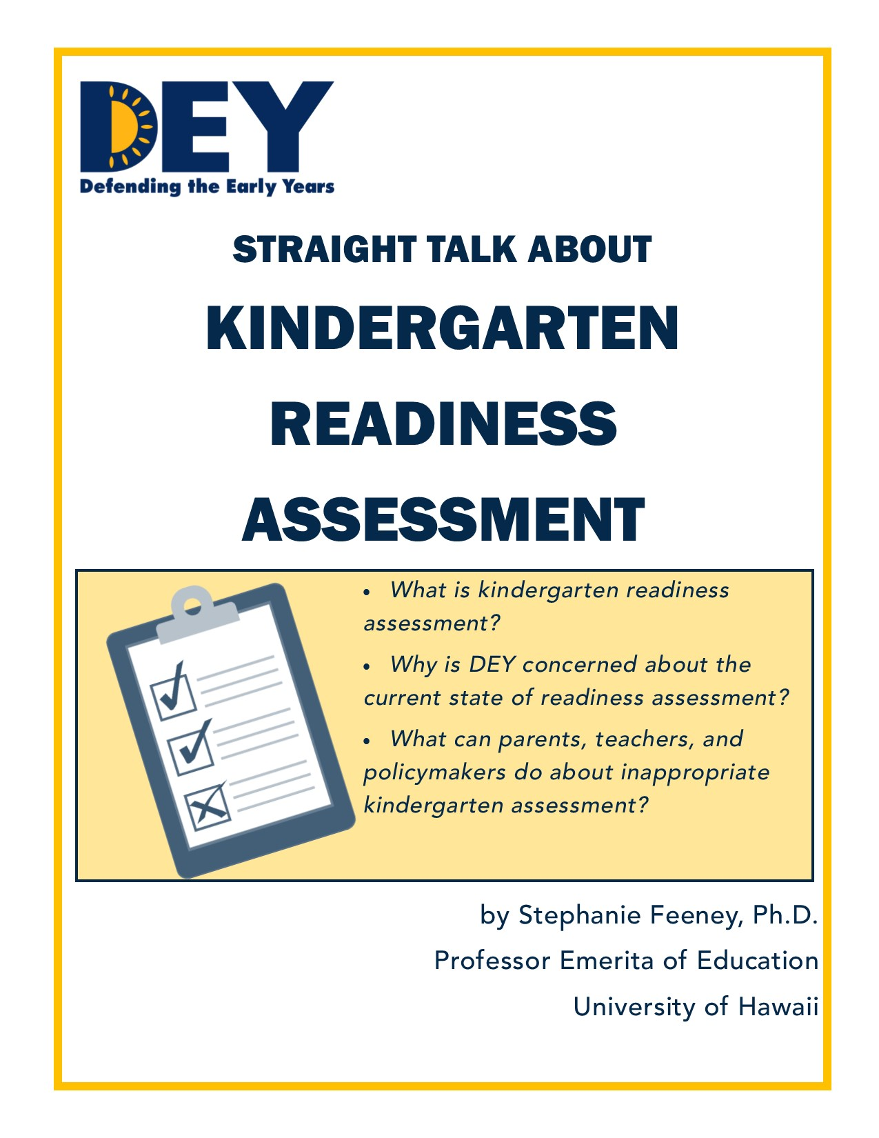 NEW* Straight Talk About Kindergarten Readiness Assessment: Click on the  image below to read and download.